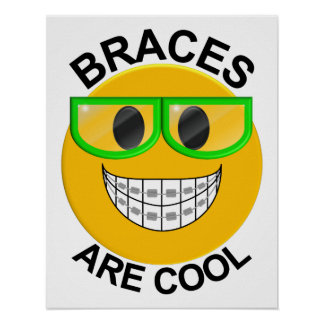 Braces Are Cool Dentist Wall Poster -Green Glasses