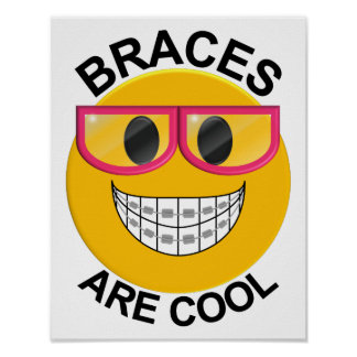 Braces Are Cool Dentist Wall Poster - Pink Glasses