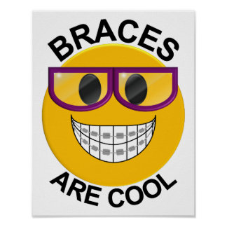 Braces Are Cool Dentist Wall Poster-Purple Glasses