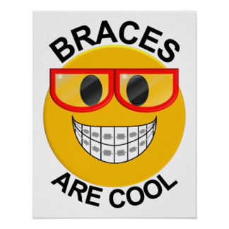 Braces Are Cool Dentist Wall Poster - Red Glasses