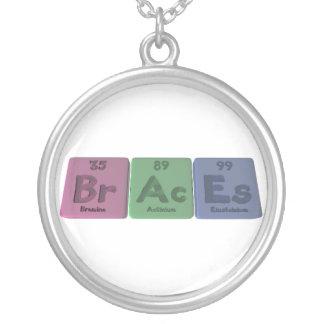 Braces-Br-Ac-Es-Bromine-Actinium-Einsteinium.png Round Pendant Necklace