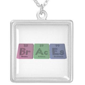 Braces-Br-Ac-Es-Bromine-Actinium-Einsteinium.png Square Pendant Necklace