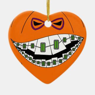 Braces Pumpkin Halloween Evil Grin Geeky Nerdy Ceramic Ornament