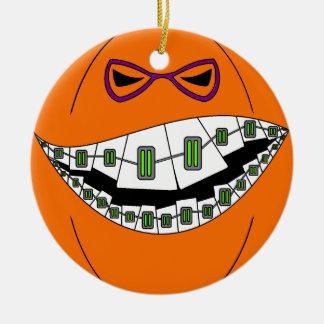 Braces Pumpkin Halloween Evil Grin Geeky Nerdy Double-Sided Ceramic Round Christmas Ornament