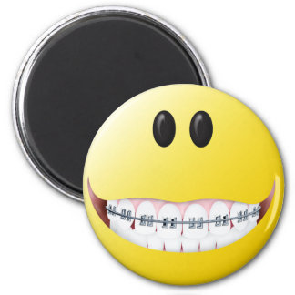 Braces Smiley Face 2 Inch Round Magnet