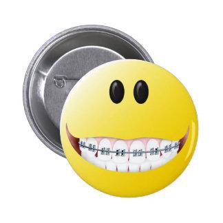 Braces Smiley Face Button