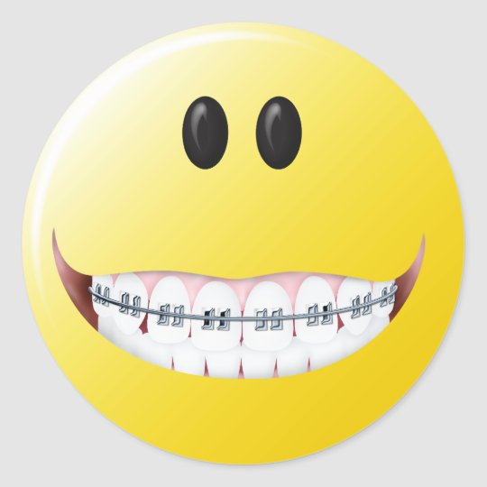 Braces Smiley Face Classic Round Sticker