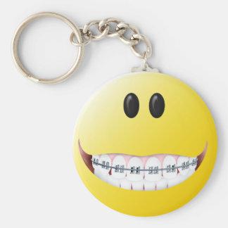 Braces Smiley Face Basic Round Button Keychain