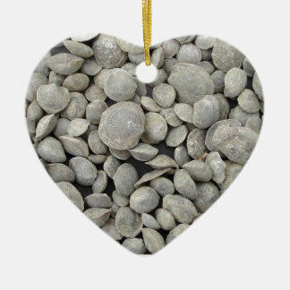 Brachiopod shell fossils pattern Double-Sided heart ceramic christmas ornament