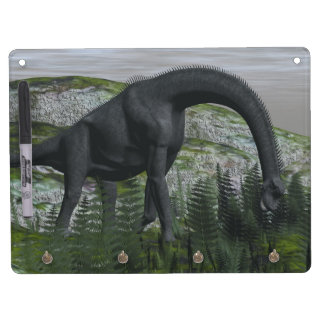 Brachiosaurus dinosaur eating fern - 3D render Dry Erase Board With Keychain Holder