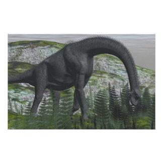 Brachiosaurus dinosaur eating fern - 3D render Stationery