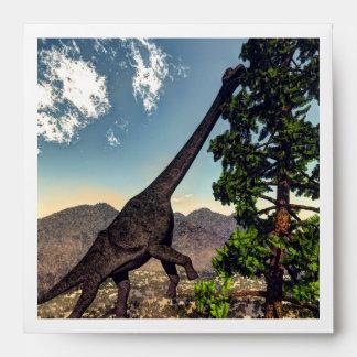 Brachiosaurus dinosaur eating wollomia pine envelope