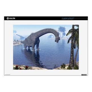 Brachiosaurus dinosaur in water - 3D render Laptop Skins