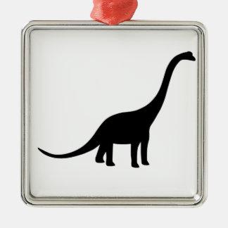 Brachiosaurus Dinosaur Square Metal Christmas Ornament
