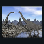 "Brachiosaurus dinosaurs - 3D render Photo Print<br><div class=""desc"">Two brachiosaurus dinosaurs in landscape with water by day</div>"
