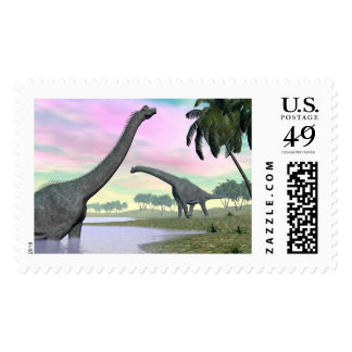 Brachiosaurus dinosaurs in nature - 3D render Postage