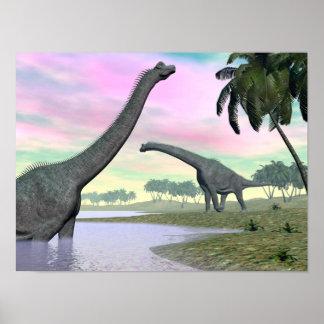 Brachiosaurus dinosaurs in nature - 3D render Poster