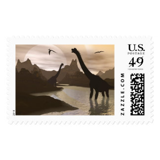 Brachiosaurus dinosaurs in water - 3D render Postage