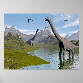 Brachiosaurus dinosaurs in water - 3D render Poster