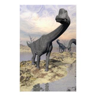 Brachiosaurus dinosaurs near water - 3D render Stationery