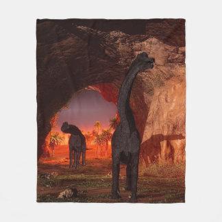 Brachiosaurus disappear in a cave fleece blanket