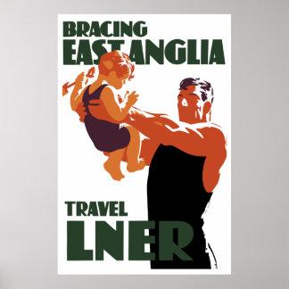 Bracing East Anglia vintage travel Poster