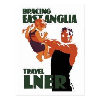 Bracing East Anglia vintage travel poster Postcard