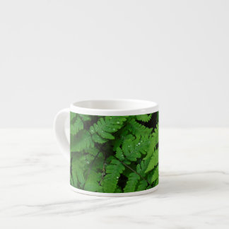 Bracken fern with rain drops, Washington State Espresso Cup