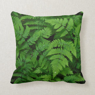 Bracken fern with rain drops, Washington State Throw Pillow