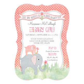 Bracket Cute Girl Baby Shower Elephant Watercolor Card