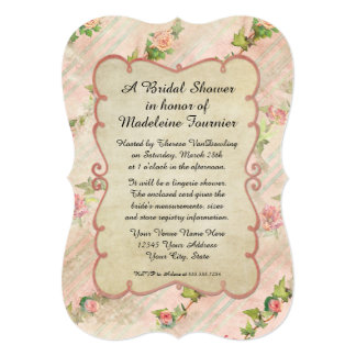 Bracket Shape Scroll Frame w Vintage French Roses Card