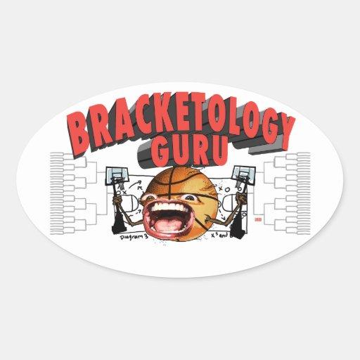 Bracketology Guru del baloncesto de la universidad Calcomanías De Ovaladas