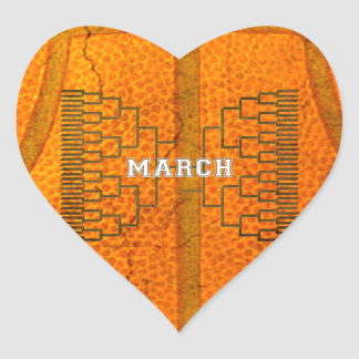 Bracketology March Basketball Tournament Heart Sticker