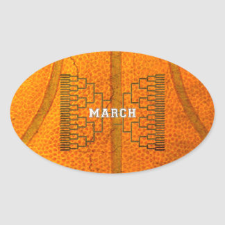 Bracketology March Basketball Tournament Oval Sticker