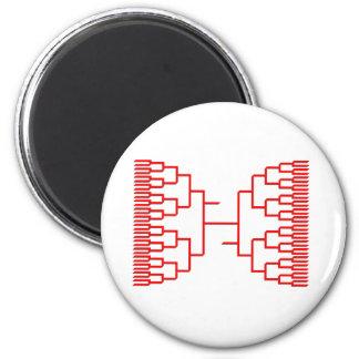 bracketology red 2 inch round magnet