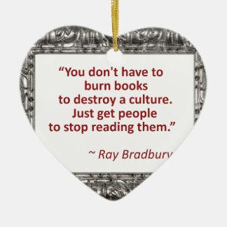 Bradbury en los libros adorno navideño de cerámica en forma de corazón