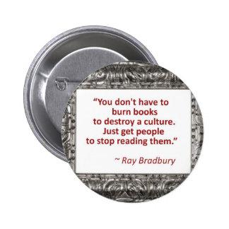 Bradbury en los libros pin redondo 5 cm