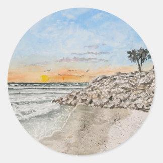 Bradenton Beach Florida sunset Classic Round Sticker