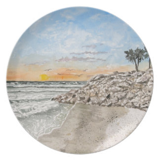 Bradenton Beach Florida sunset Dinner Plate