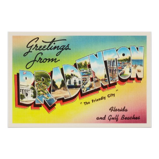 Bradenton Florida FL Old Vintage Travel Souvenir Poster