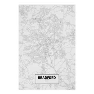 Bradford, England (black on white) Poster