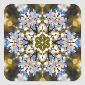 Bradford Pear Tree Blossom Kaleidoscope Square Sticker