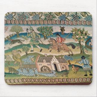Bradford Table Carpet, detail of scenes of rural l Mouse Pad
