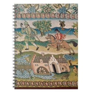 Bradford Table Carpet, detail of scenes of rural l Spiral Notebook