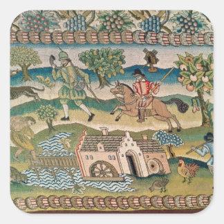 Bradford Table Carpet, detail of scenes of rural l Square Stickers
