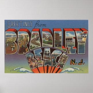 Bradley Beach, New Jersey - Large Letter Scenes Poster