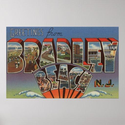 Bradley Beach, New Jersey - Large Letter Scenes Print