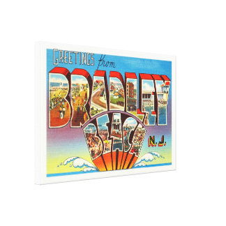 Bradley Beach New Jersey NJ Vintage Old Postcard- Canvas Print