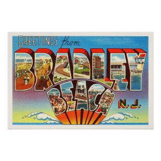 Bradley Beach New Jersey NJ Vintage Old Postcard- Poster