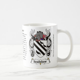 Bradshaw, the origin, meaning and the crest classic white coffee mug